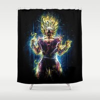 vegeta Shower Curtains featuring Emotional Fighter Level 2 by Barrett Biggers