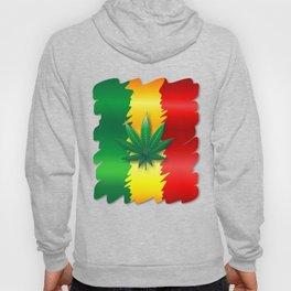 Cannabis Leaf on Rasta Colors Flag Hoody