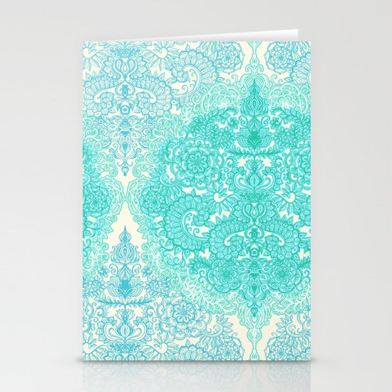 Happy Place Doodle in Mint Green & Aqua Stationery Cards