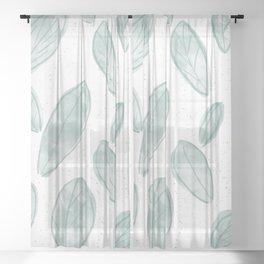 Pastel Leaves Sheer Curtain