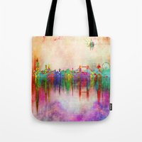 london Tote Bags featuring london by mark ashkenazi