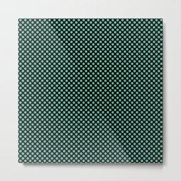 Black and Spearmint Polka Dots Metal Print