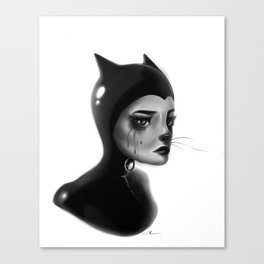 Crying Cat Woman Canvas Print