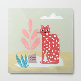 Red Dotted Cat Metal Print