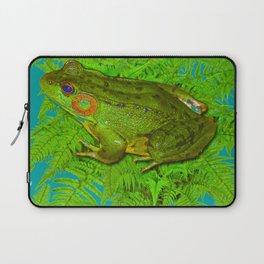 GREEN SWAMP FROG & GREEN FERNS Laptop Sleeve