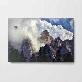 Mystical Mountains in Clouds, Landscape Nature Photography Metal Print