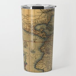 Antique Map of North and South America 1570 Travel Mug