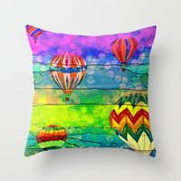hot air balloons Throw Pillows featuring Hot Air Balloons #6 by Music of the Heart
