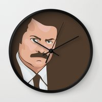 ron swanson Wall Clocks featuring Ron Swanson by CheekyMonkeyArt
