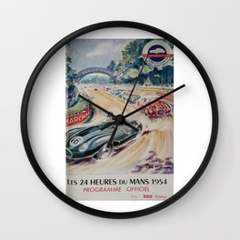 1954 Le Mans poster, Race poster, car poster, programme officiel Wall Clock