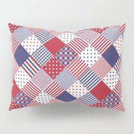 Red White & Blue Patchwork Quilt Pillow Sham