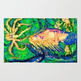 Art sexy nude mermaid octopus garden ladykashmir Rug