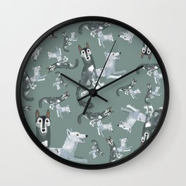 Totem Canadian wolf 2 Wall Clock