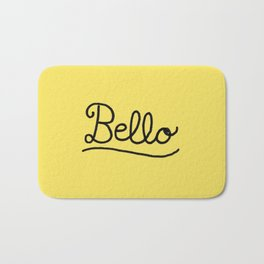 Funny Bello Hello Typography in Yellow and Black Bath Mat