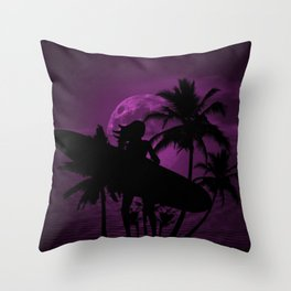 Purple Dusk with Surfergirl in Black Silhouette with Longboard Throw Pillow