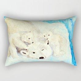 Polar Bears Trying to Survive Rectangular Pillow