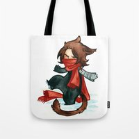 bucky Tote Bags featuring winter - bucky by cynamon