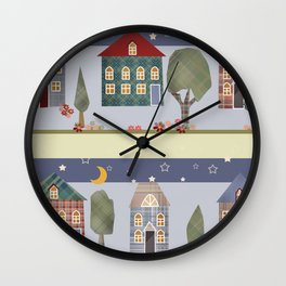 Kids patchwork seamless pattern with houses and trees Wall Clock