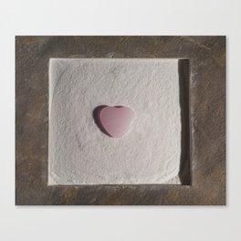Rose Quartz heart in a zen garden Canvas Print