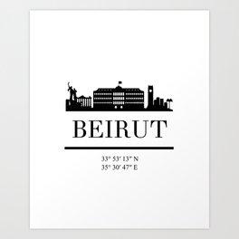 BEIRUT LEBANON BLACK SILHOUETTE SKYLINE ART Art Print