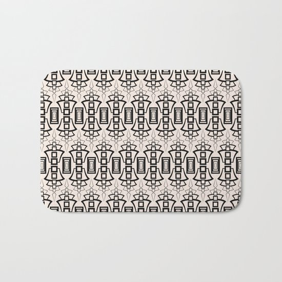 Art Deco . Black and beige pattern . Bath Mat