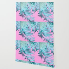 Palm Leaves Pink Blue Vibes #1 #tropical #decor #art #society6 Wallpaper