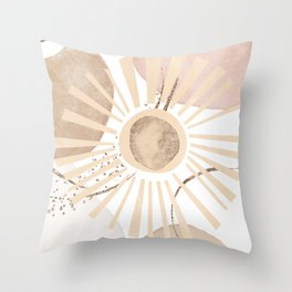 Blush Gold Pebbles 5 - Line Art Drawing Abstract Minimal Sun Ray Pattern Throw Pillow