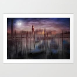 City-Art VENICE Gondolas at Sunset Art Print