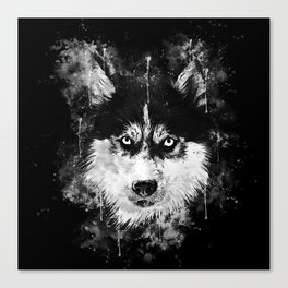 husky dog face splatter watercolor Canvas Print