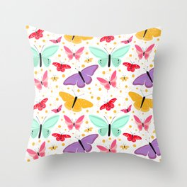 Colorful Contemporary Chic Butterflies Trendy Happy Pattern Throw Pillow