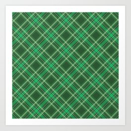 Green Plaid, Green Tartan, Yellow Stripes Art Print