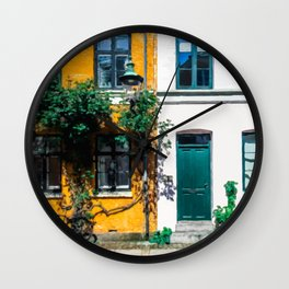 Painting of Traditional Danish Building Facades in Colourful, Sunny Copenhagen, Denmark Wall Clock
