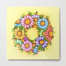 Spring Daisy Wreath Metal Print