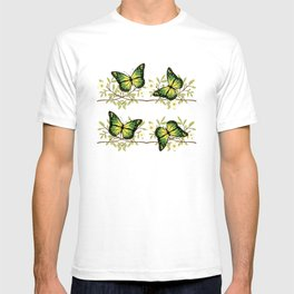Four green butterflies T-shirt
