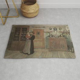 Carl Larsson - Between Christmas and New Year (From a Home watercolor series) Rug