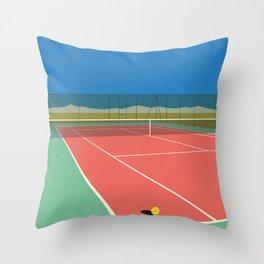 Tennis Court In The Desert Throw Pillow