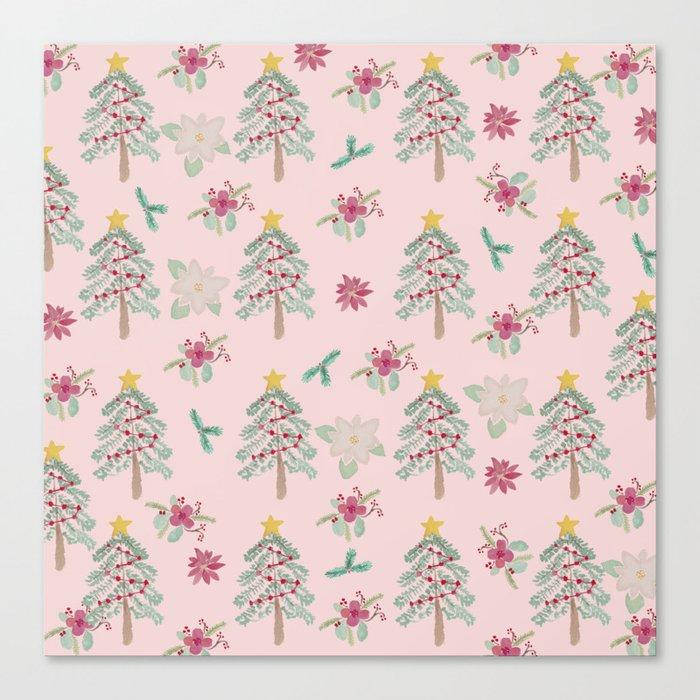 Christmas Pattern Pink Leinwanddruck