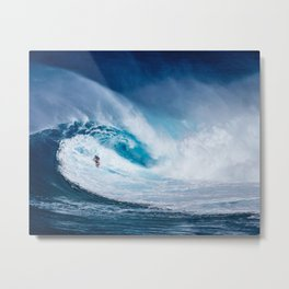 Wave and Surfer Metal Print