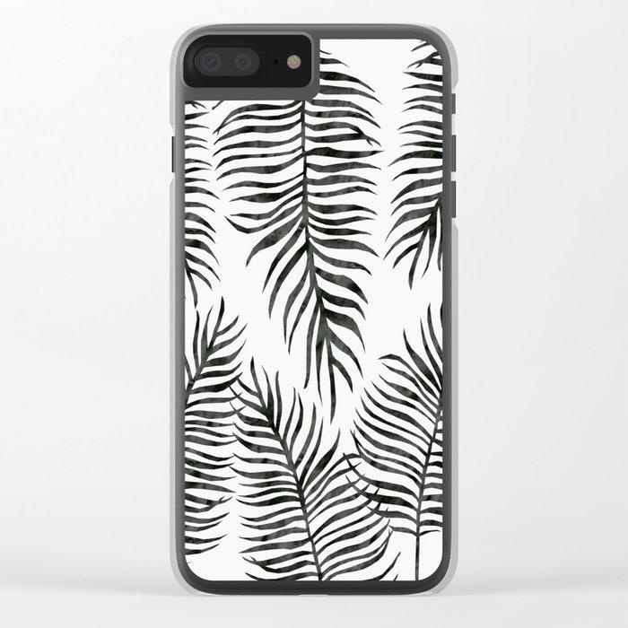 Black Fern Pattern Clear iPhone Case