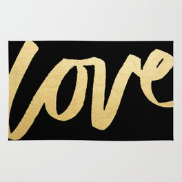 Love Gold Black Type Rug