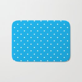 Small White Polka Dots with Blue Background Bath Mat