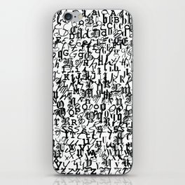 alphabet - letters / font collection - black and white iPhone Skin