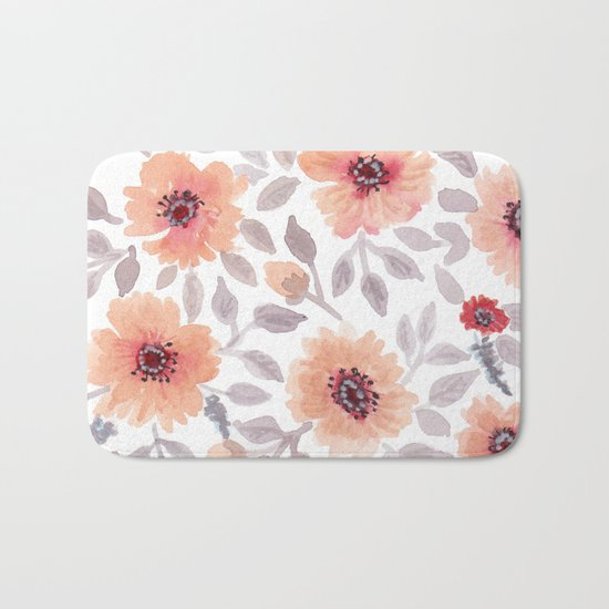 Watercolor . Salmon flowers . Bath Mat
