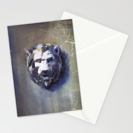 Lion head Black Marble Stationery Cards