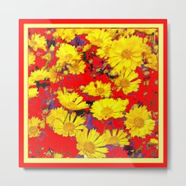 RED  & YELLOW COREOPSIS  FLORAL  ART DESIGN Metal Print
