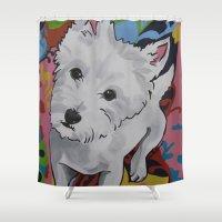 westie Shower Curtains featuring Pop Art Westie Named Poppy by Karren Garces Pet Art