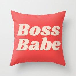Retro Boss Babe - Coral Throw Pillow