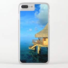 Over-the-Water Island Bungalow Clear iPhone Case