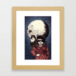 Posing on the moon Framed Art Print