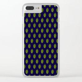 Hops Dark Blue Pattern Clear iPhone Case